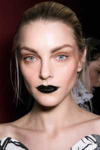 Not a huge fan of black lips on most,  I do like it paired with this peachy copper shadow. Subtle Halloween look, if costumes aren't your (trick-or-treat) bag.