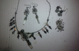 Some from my personal collection; the garnet and hematite set was a gift from a client many years ago. The silver and CZ were also a gift from a long, lost friend. The itty bitty flicked ones, my husband gave me a few years ago. Bats and spiders. Everyone gifts me with bats and spiders, and I'm certainly not complaining.