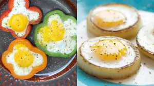 "Crack your eggs into pepper or onion rings to add a touch of class and cut back on the disaster of an ""adventurous"" egg."
