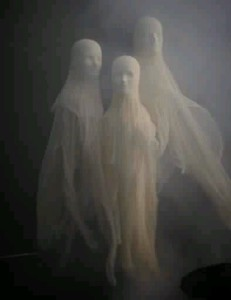 Panty-wetting cheesecloth ghosts! Glue cheesecloth to the faces of styrofoam heads (available at wig shops or beauty supply stores),to make sure you get all the facial features. I'd brush glue on to make sure everything was thoroughly covered.