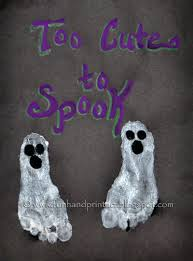 How spooktacular is this?! Use your child's footprint (or, as I would, hubby and mine) and make frameable art!  Save it for years to come, or do a new one every year and make a collage. You could also use fabric paint and make shirts or quilts.