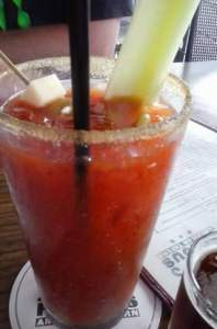 Bloody Mary at Jimmy's. Made with tequila, which I'm bot so crazy about and no Worcester sauce!  Sinful!
