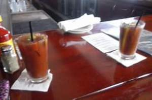 Bloody Marys at South Beach. They finally learned to leave the celery out, bring extra Worcestershire sauce and extra olives!