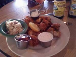 2010 trip - South Beach Bar and Grill fried platter. Wahoo, Calamari, Shrimp and Mushrooms...I swoon for batter fried mushrooms.