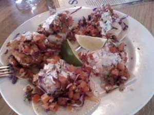 2010 trip - South Beach Bar and Grill seafood taco sampler.