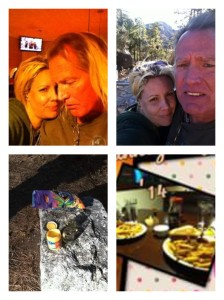 Our Thanksgiving last year, 2014. We drove up to the mountain, split a bottle of wine and some chips and queso. When we came back down, we were starving (high elevation does that) and we ended up at a Village Inn restaurant, eating the fish and chips platters (me, because I'm pescatarian, Craig because he's supportive) and it was a great day and night! They even sent us home half a chocolate silk pie, on the house!