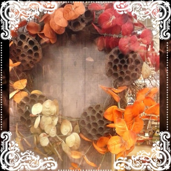 My favorite find of the day! This gorgeous lotus pod wreath, at Cost Plus! This takes you from now, through Thanksgiving.