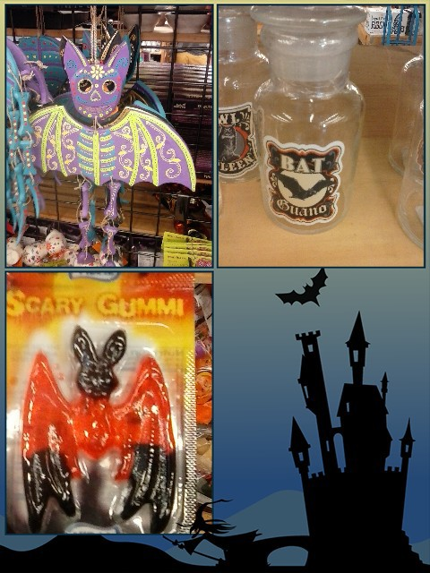 I'm all about bats, any time of year! This is my season! And, I loved the bat guano jar! Be perfect foe keeping chocolate chips in, since I have a weird sense of humor like that.