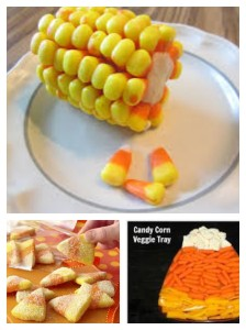 Use carrots in Orange and yellow or peppers in Orange and yellow and cauliflower for a veggie tray - or ranch dip could act as your white element as well.  Colored sugars add a festive touch to (some might argue) tastier sugar cookies, and candy corn-on-the-cob can be done with sugar cookie dough or marzipan.