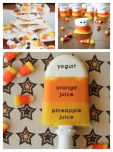 Candy corn brittle, marshmallows and popsicles.
