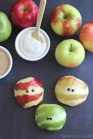 Peel just bits of the apple, to make them mummified!