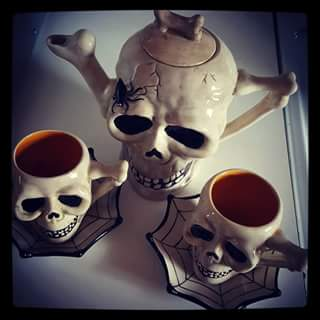 Tea, anyone?  This would rock with the skull spoons and sugar cubes we showed in