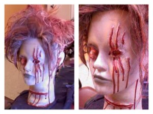 Working with a student, teaching FX makeup. Not just blood application, but the finer art of working with gums, putties and other makeup for realistic wounds.