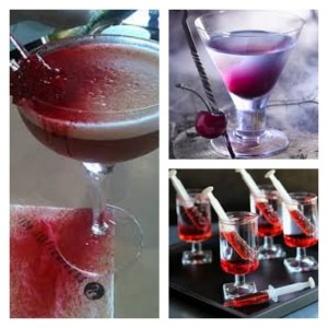 More plas-tastic ideas! Make Jello syringes (find out how in our blog), spay red food coloring onto drinks and napkins with a fine mist spray bottle (look in the travel section or at a beauty supply for the airline approved baby spray bottles...they usually give a finer mist and allow you more control over where it goes), add a dash of red liqueur or grenadine to cocktails and pour in clear mixer (like club soda, water or Sprite) carefully so they don't mix. Black licorice sticks make a fabulous garnish!