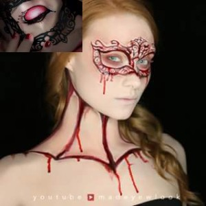 Same look, but if it's a bit too much blood for your taste, (no pun, Vlad), check the look in the upper left corner. Similar with the mask, but a bit less bloody - add FX makeup safe blood as you deem fit.